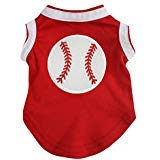 Petitebella Puppy Kleidung Hund Kleid Baseball Rot Weiß Baumwolle T-Shirt, Medium, Rot -