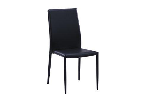 6 sedie moderne nere in ecopelle per arredamento sala da for Sedie nere ecopelle