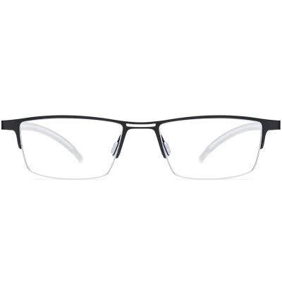 Linshenyoulu Der Titanrahmen der neuen Männer Matt Business Half Frame Pure Titanium Brillengestell Simple Fashion Glasses B Titan Ultra Light Eye Frame