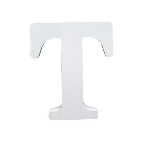 Lettres en Bois, Toifucos 10cm A-Z DIY Alphabet Anglais Ornaments D'artisanat pour Accueil Mariage Anniversaire Décoration de fête Accessoires, Blanc 1 pcs T