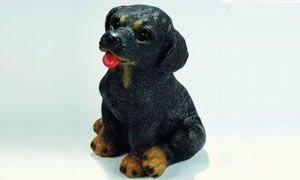 Rottweiler 21 cm 88060 Kunststoff-Figur mit Bewegungsmelder -