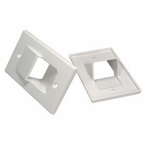InstallerParts 1-Gang Recessed Wall Plate - White - Hold up to 4 Cables by InstallerParts Wall-plate 1 Gang