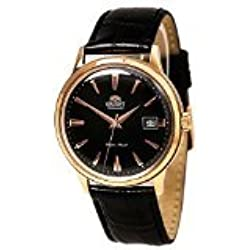 Orient Bambino Automatic Dress Watch with Black Dial, Rose Gold Tone Case and Hour Markers ER24001B