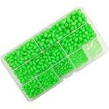 w Angeln Beads, Hard Kunststoff ovale Form Angeln Eier, Sortiment grün Meer angeln Fishing Tackle Schwimmende Tools Eier, 900Stck/Box 9Größe ()