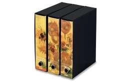 KAOS Ringbuch mit Schuber 3er Packung Format A4 2 Ringe Rückenbreite 8 cm Bild SONNENBLUMEN VAN GOGH - Packung-Größe: 26.8x35x29 cm