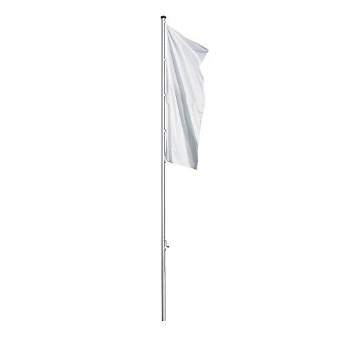 MANNUS Fahnenmast aus eloxiertem Aluminium - mit Spezialkurbel, Ø 100 mm, ohne drehbaren Ausleger - Höhe über Flur 8 m - Fahne Fahnen Fahnenmast Fahnenstange Flagge Flaggen Flaggenmast Flaggenmasten Mast
