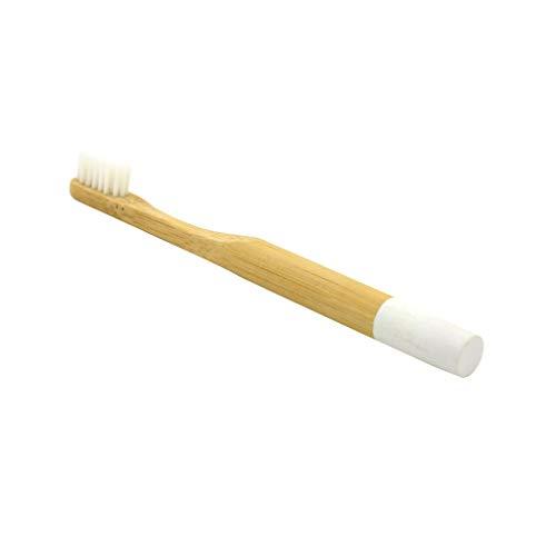 MMLC Bambus Aktivkohle Zahnbürste - 100% Bio, natürliche, biologisch abbaubare und umweltfreundliche Zahnbürste mit extra dünnen weichen BPA-freien Borsten für Erwachsene (White) -