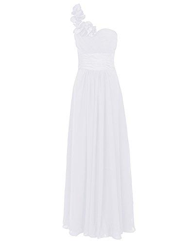 Dresstells, Une épaule robe de soirée, tenue de mariage, robe de cérémonie, robe de demoiselle d'honneur Blanc