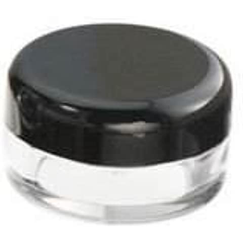50 New Empty Cosmetic Storage Containers Black Cap Clear Base Plastic Cosmetic Containers 5 Gram Size Pot Jars Eyshadow Container Lot Size: Diameter: 1 1/4 inch X Height: 3/4 inch. (Comes With 1 Free Myo Eyeshadow Sample) by Myo