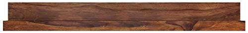 FineBuy Wandregal Massiv-Holz Sheesham Holzregal 140 cm breit Landhaus-Stil Hänge-Regal Echt-Holz Wand-Board Natur-Produkt Wandkonsole dunkel-braun Brett unbehandelt Regale zum Aufhängen Unikat Ablage
