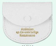 Kommunion Rosenkranz - Etui, weiss, Leder einfache Ausführung (Weiss - Schrift Golddruck)