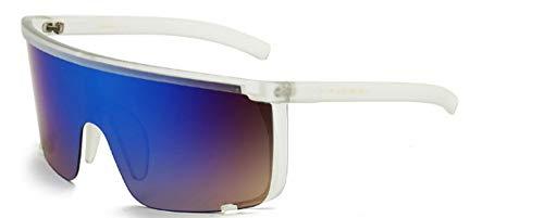 ZJMIYJ Sonnenbrillen Frauen übergroße Maske Form Shield Visor Sonnenbrille Frauen Männer Oben flach Winddicht Kapuze Brille blau