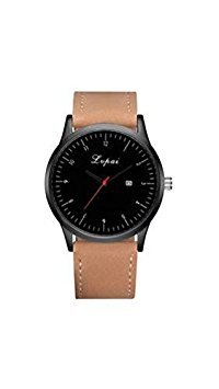 Tradico® Man Quarts Casual Business PU Leather Wrist Watch (Brown Belt Black Face)
