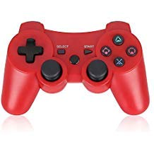 PS3 Controller Wireless Double Shock Gamepad für Playstation 3, Sixaxis Wireless PS3 Controller mit Ladekabel, kompatibel mit Playstation 3 (rot)