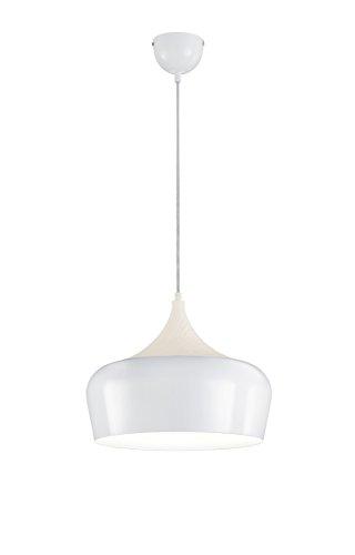 Elgante Pendelleuchte NABAB aus weißem Metall und hellem Holz, Ø 36cm, Trio Leuchten
