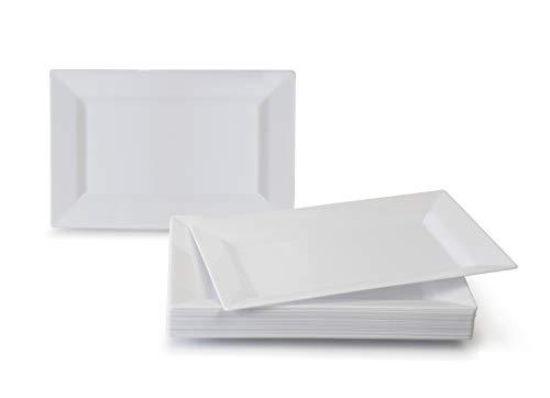 Anlässe 40Pack, schwerer Einweg Hochzeit Party Kunststoff Teller Dinner Plate Soho, White