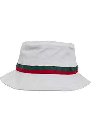Flexfit Fischerhut Stripe Bucket Hat, white/firered/green, one size, 5003S Flex-fit Cotton Twill Cap