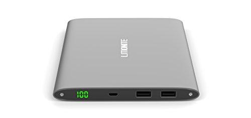 Litionite® Plasma 20000mAh Power Bank Batería externa de aluminio portátil cargador bolsillo Ultra Delgado Touch Screen universal con pantalla LED. Diseño y estilo moderno para todos los modelos de Smartphone y Tablet (Gris)