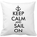 aliho gbenstore Keep Calm and Sail On BA : 123 Pillow Case Cushion Cover Home Canapé Decorative 18 X 18 Squares