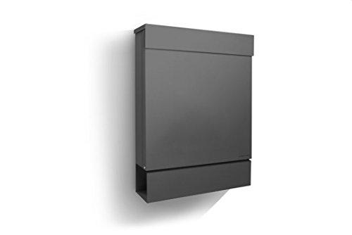 Letterman M Radius Design-Briefkasten mit Zeitungsfach anthrazit-grau (RAL 7016), Postkasten dunkelgrau Brief-Einwurf oben