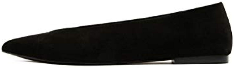 Bimba y Lola Femme Black Black Black v-Cut Split Leather Ballerina 182BZ0414B07JNQ7BRKParent a82e0d