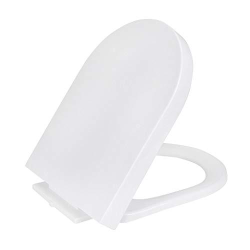 WJQSD WC-Sitz U-Typ-WC-Sitzabdeckplatte, geräuschloser, langsam schließender WC-Sitzdeckel, weißer Haushalt Verstellbarer Scharnier-Toilettendeckel für Erwach (Size : Large)