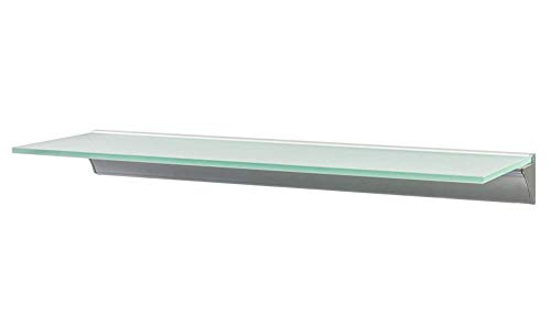 Montagefertiger Satz mit dem Treiber Glasregal mit doppeltem Aluprofil und zwei LED-Bändern Glasart Opal (blau/kaltweiß, 41 x 18 cm)