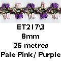 Rosebud Viskose Metallic-Geflecht, Pink/Violett Rosebud Trim