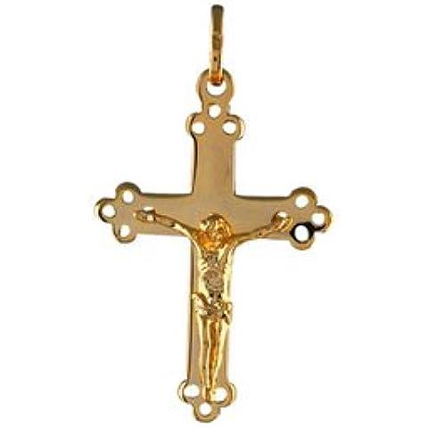 So Chic Joyas - Colgante Cruz Crucifijo Jesús Cristo Religioso Chapado Oro 750