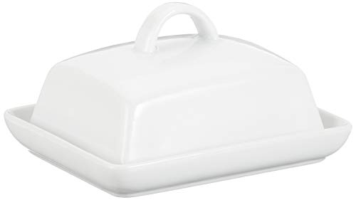 axentia Butterdose Porzellan, klassische Butterglocke für 250 g Butter, Butterbox für Haushalt und Küche, Butterschale mit Deckel und Griff, weiß -