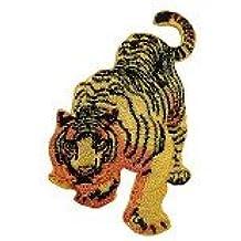 Parches - tigre cuerpo animal - amarillo - 7,5x5,5cm - termoadhesivos bordados aplique para ropa