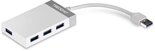 TRENDnet 4-Port USB 3.0 Kompakter Mini Hub mit eingebautem USB 3.0 Kabel, Plug & Play, Kompatibel mit: Linux, Windows, Mac, Nintendo Switch, Rückwärts kompatibel mit USB 2.0, TU3-H4E