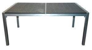 Gartentisch Aluminium mit Edelstahl-look und 2 Granit-Tischplatten