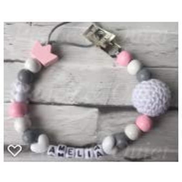 Handmade from The U.K. Baby Shower Gift Pacifier Soother Holder Chains Peace /& Quiet Personalised Baby Girl or Boy Dummy Clips