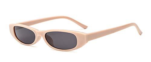 YKDDGG Mode-Accessoires Sonnenbrillen Vintage Rechteck Sonnenbrillen Damen Damen Small Frame Schwarz Rot Sonnenbrille Retro Skinny Eyewear4-Beige Grau
