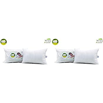 Recron Certified Dream Fibre Pillow - 41 cm x 61 cm, White, 2 Piece & Dream Fibre Pillow - 43 cm x 69 cm, Pack of 2, White Combo