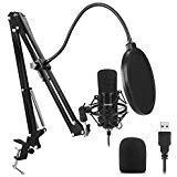 ZAFFIRO Microfono a condensatore USB Kit + Supporto Regolabile + Ragno Anti Shock + 1 Filtro Anti-Pop + 1 Filtro Anti-Vento | Microfono per Computer PC