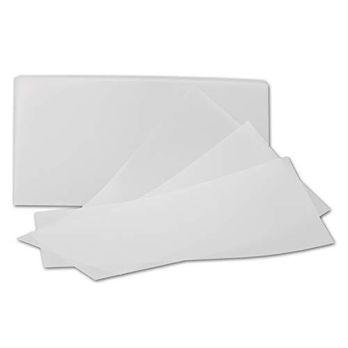 50x ungefalztes einfaches Einlege-Papier für DIN Lang Karten - transparent-weiß - 10,3 x 20,8 cm - ideal zum Bedrucken mit Tinte und Laser - hochwertig Mattes Papier von Gustav NEUSER®