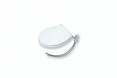 Sedile copri wc in legno con bidet, sedile copri wc in legno verniciato bianco, con rubinetto monocomando ed aeratore per funzione bidet