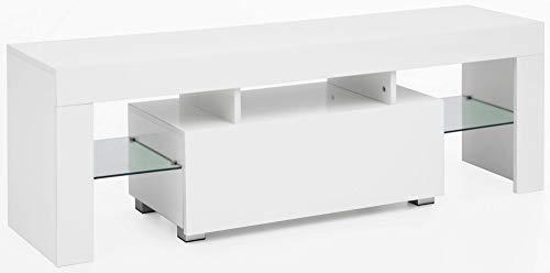 Wohnling WL5.714 Meuble TV en Bois Haute Brillance avec tiroir et LED Blanc 130 x 45 x 35 cm