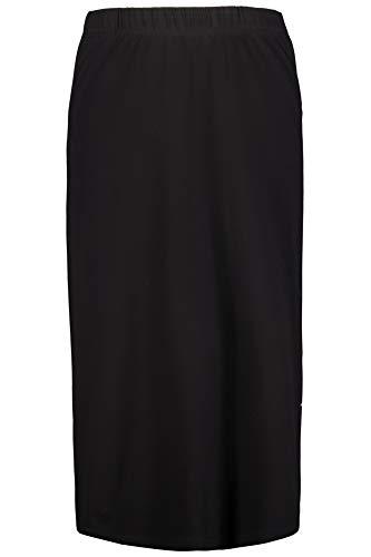 Ulla Popken Femme Grandes Tailles Jupe Droite en Jersey, Stretch Noir 52/54 718201 10-50+