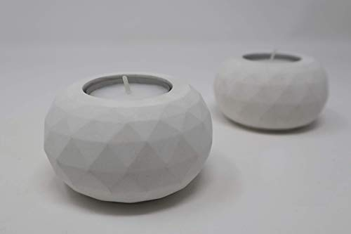 Portavelas de cemento minimalista