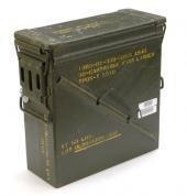 A.Blöchl Große & Schmale originale gebrauchte Munitionskiste der U.S. Army für 30 Patronen Kaliber 25 mm Metallkiste Mun-Kiste Behälter Metallbox