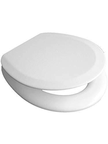 VCM Soft WC Klo Sitz Toilettendeckel Deckel Brille Klobrille Gepolstert Premium - Verstellbare Edelstahlscharniere Weiß -