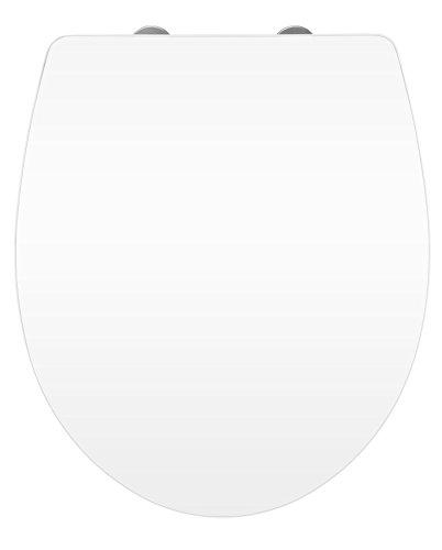 WENKO 21743100 WC-Sitz Hochglanz Acryl Toilettensitz, Absenkautomatik, Fix-Clip Hygiene Befestigung, 38,8 x 45 cm, weiß