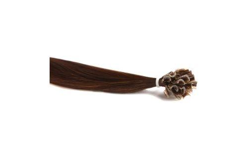 Extensions Cheveux Kératine 100 mèches indiennes 0,8gr Châtain 50cm