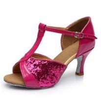 DIKE Popular Women's girls Ladies Latin/Ballroom/Salsa Dance Shoes Practice Shoes Glitter Satin Buckle Med Heel Sandals Rose 5cm heel