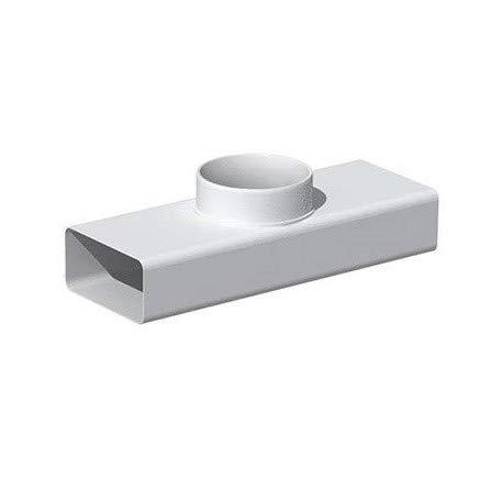 té plat pvc rigide - horizontale - rectangulaire - 55 x 220 mm vers diamètre 100 mm
