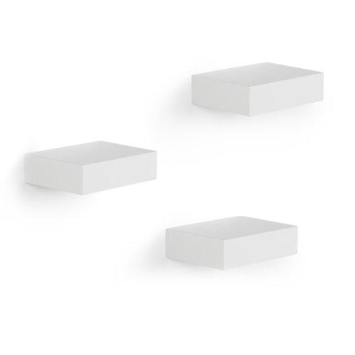 Umbra Showcase Wandregal – Kleine Regale und Wandablagen zur Präsentation von Deko-Objekten, Weiß, Set mit 3 Regalen