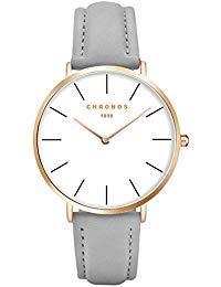 Mode Klassisch Unisex Damenuhren Herrenuhren PU Lederband Anolog Armbanduhren für Männer Frauen, Grau-Rose Gold